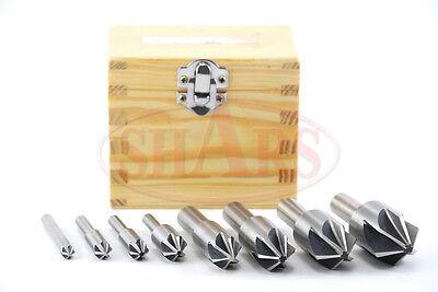 Shars 8 Pcs 90 Degree 6 Flute Hss Machine Countersink Set New