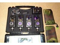EDWARD CUSTOM UPGRADES MK1 COMPACTS + RECEIVER PURPLE X4 Carp Fishing Bite Alarms