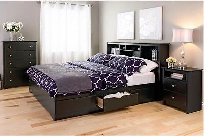 King Size Bedframe Platform Headboard Bedroom Furniture Storage Bed Wood Black