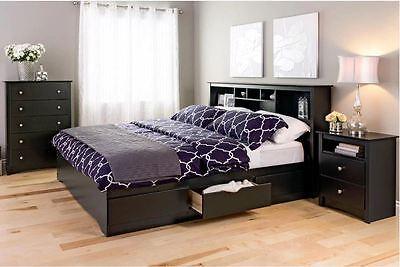 king size bedframe platform headboard bedroom furniture storage bed wood black - King Size Bed Frame Cheap