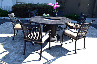 Propane fire pit table grill set cast aluminum patio furniture Grand Tuscany  ()