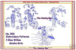 500-Blue-Willow-Embroidery-Geisha-Ladies-Transfer-pattern-NEW-4