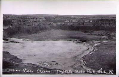 (yfn) Real Photo Postcard Dry Falls State Park WA: River Channel