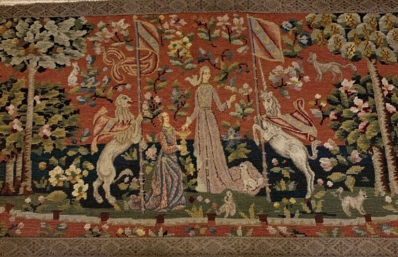 Beautiful Hand Embroidered Antique Tapestry