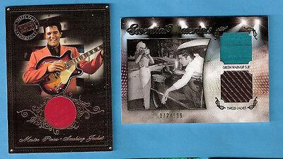 ELVIS PRESLEY #d WORN TWEED & WARM-UP SUIT SWATCH & SMOKING JACKET RELIC CARDS