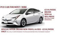 £210 PER WEEK BRAND NEW 66 REG PRIUS INCL INSURANCE - PCO CARS FOR RENT/HIRE, UBER READY