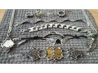 Various rings, bracelets and necklaces.