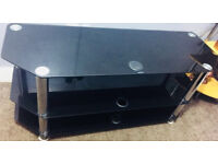 Black Glass Mirror TV Stand Used £35