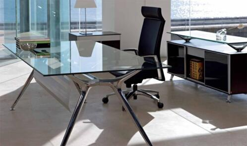 Tip 220x100cm glazen design tafel arkitek chroom onderst for Arkitek design house