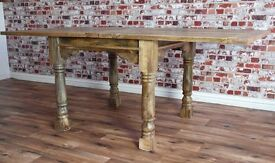 Hardwood Tropical Rustic Farmhouse Dining Kitchen Table Extending Extendable Seats 4-8