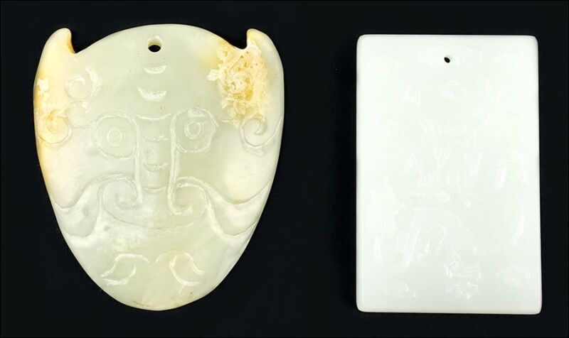 Chinese Carved White Jade Pendants