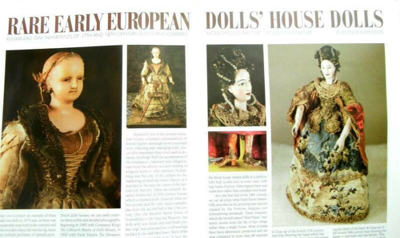 7p History Article + Color Pics -  Antique German and Dutch Wax Doll House Dolls