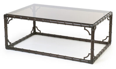 Glas Mahagoni Couchtisch (Couch-Bambus-Glas-Tisch Asia Handarbeit 120x80 mahagoni Bambi table midcentury)
