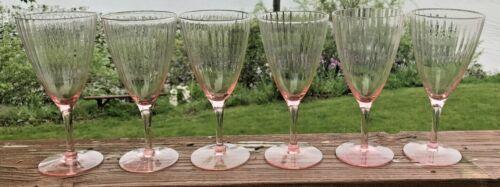 6 Pink Cambridge Glasses  8 Oz Goblet Stem, Pink, One has Sticker