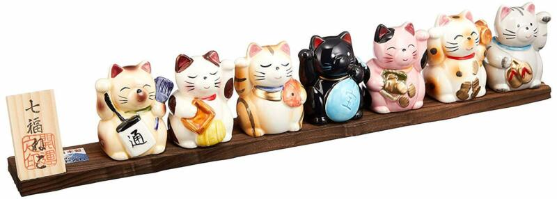Japanese Seven Deities Of Good Luck Happy Cat Seto Ware Pottery Ale-net Japan