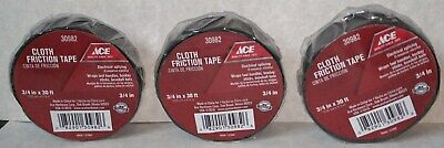 3 Rolls Cloth Electrical Friction Tape Black 34 X 30 New Factory Sealed