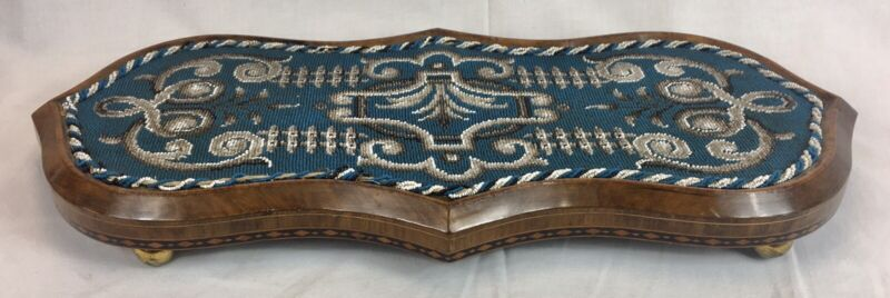 ANTIQUE VICTORIAN WALNUT BEADWORK TAPESTRY STAND, TEAPOT STAND / TABLE TRIVET