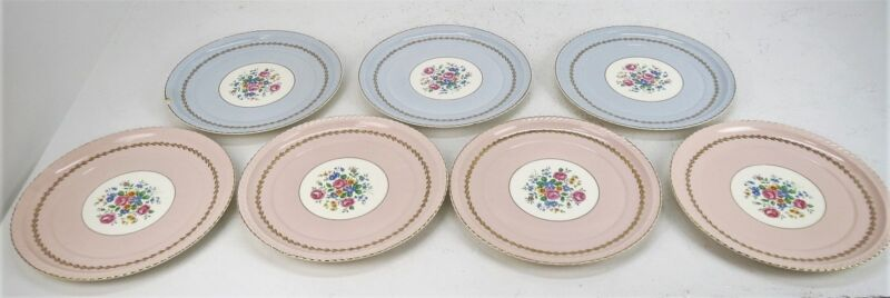 Steubenville China Monticello 7 Plates 4 Pink 4 Blue - See Details
