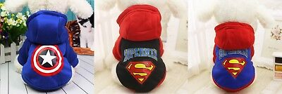 Dog Pet Superman HOODIE Captain America SUPER HERO Costume XS Small Medium Large