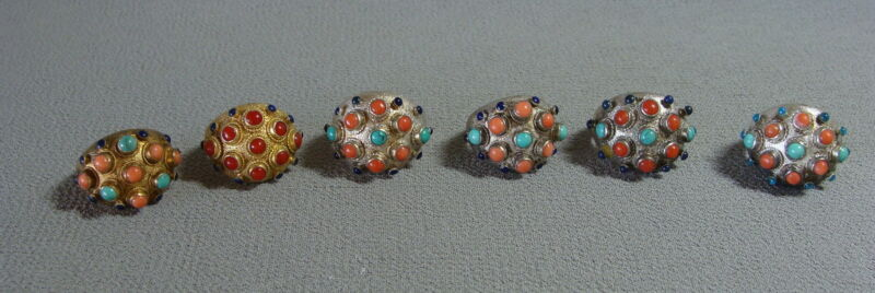 Lot x 6 Handmade Chinese Export Silver Coral & Turquoise Adjustable Rings