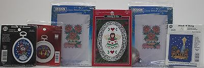6 Assorted Christmas Cards & Ornaments & Hang Counted Cross Stitch Kits  NIP - Cross Stitch Ornaments