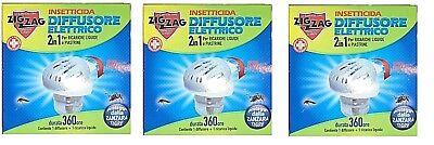 3 Piezas Zig Zag Insecticida Difusor Eléctrico 2 IN 1 Para Plaquetas...