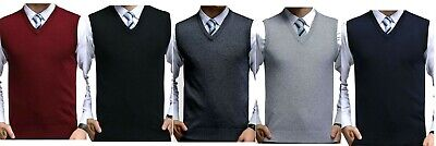 V neck Mens sleeveless knitted pullover slip over sweater jersey  S to 5XL