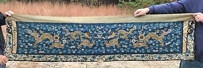 LARGE OLD ANTIQUE CHINESE TEXTILE HANGING WITH DRAGONS