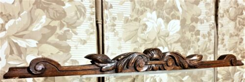 Scroll leaf crowned wood carving pediment Antique french architectural salvage