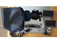 """Car portable DVD player with two 7"""" screens, headrest mounts, remote, carry bag"""