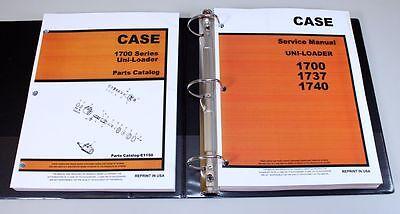 Set Case 1700 1737 1740 Uni-loader Skidsteer Service Shop Manual Parts Catalog