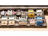 full pedalboard with Guitar Pedals, voodlabs power, flight case, Velcro, and. completed wiring