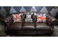 Stunning Chesterfield Thomas Lloyd Hump Back Brown Leather 3 Seater Sofa - Uk Delivery