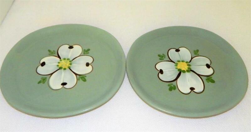 2 Mid-Century PURINTON POTTERY Bread & Butter Plates Maywood/Dogwood