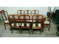 Chinese Rosewood Extendable Round Dining Table and 8 Chairs No090204