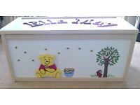 Large wooden Pooh bear and bees toy box. L71cm,W36,H32. Lid with name of your choice.
