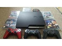 PlayStation 3 Slim 320 GB, 6 games PS3, original controller and 2 extra controllers for free