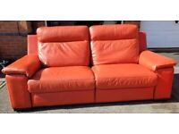 Beautiful Harveys reclining 3 seater and 2 seater orange leather sofas