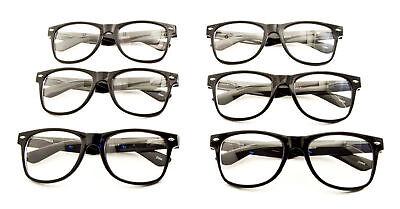 6 Pairs BLACK Frame Clear Lens Hipster Geek Nerd Glasses Sunglasses 80s Retro  ](Nerd Glasses Bulk)