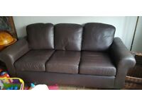 Free Faux leather brown sofa