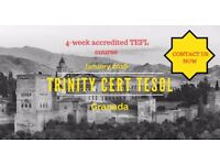 TEFL Course in Granada Spain. 4-week Trinity Cert TESOL in Spain's most magical city.