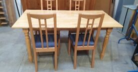Wooden Table and 4 Chairs No220411