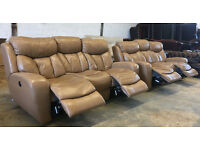 3+3 Motorised tan leather recliners sofas, suite, couch DELIVERY AVAILALBE