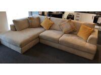 Next Beige/Grey Corner Chaise Sofa + Storage Footstool