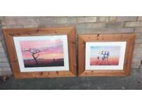 Two Solid Pine African Style Pictures