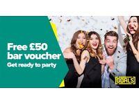 Book a Function at Goals Star City & receive a FREE £50 bar voucher!