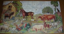The Victory Farmyard Wooden Vintage Jigsaw Puzzle - Complete