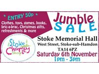 Jumble Sale, Saturday 6 November 2021, 1-3pm, Stoke-sub-Hamdon Memorial Hall, TA14 6PZ