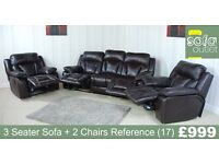 Designer Brown Leather 3 Seater Sofa + 2 Chairs (17) £999