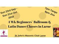 4 Wk Beginners Ballroom & Latin Dance Class in Larne from Sun 23rd Sept 2018
